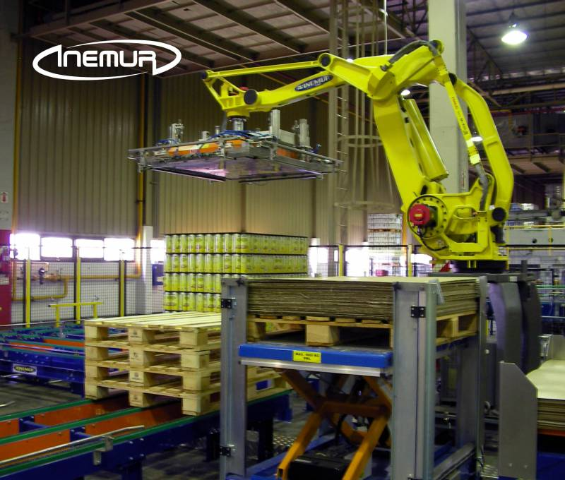 Palletising and depalletising for metalic containers 11