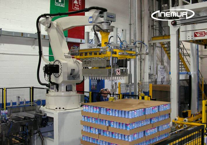Palletising and depalletising for metalic containers 5