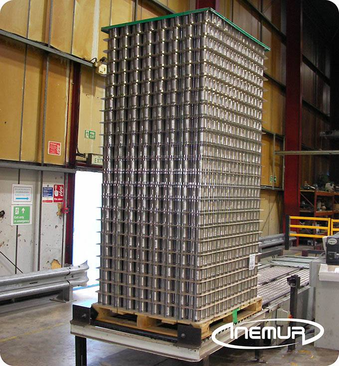 Palletising and depalletising for metalic containers 9